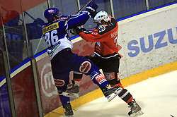 Jonathan Ferland (86) and Marcel Rodman (22) at ice hockey match Acroni Jesencie vs EC Pasut VSV in EBEL League,  on November 23, 2008 in Arena Podmezaklja, Jesenice, Slovenia. (Photo by Vid Ponikvar / Sportida)