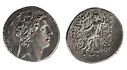 Antiochus IV Silver Tetradrachm coins 175-164 BC with head of Antiochus IV and Zeus enthroned. On White Background