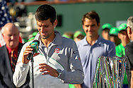 Indian Wells, CA - Novak Djokovic of Serbia smiles during the trophy presentation at the BNP Paribas Open.