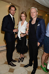 Left to right, JAMES ROUSSEAU,  ANNABELLE WALLIS and MR HUDSON at an evening of Dinner & Dancing at Daphne's, 112 Draycott Avenue, London SW3 on 24th July 2013.
