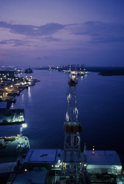 Stock photo of a stacked drilling rig in the Sabine river at the Texas - Louisiana border