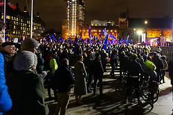 A large rally is held by supporters of a People's Vote - a second referendum - in Parliament Square across the road from the House of Commons where MPs are voting on Prime Minister Theresa May's Brexit deal. London, January 15 2019.
