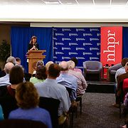 NHPR President and CEO introduces Brooke Gladstone at a live event at UNH in September, 2014