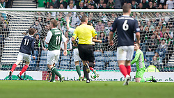 Falkirk's Blair Alson scoring their third goal..Half time : Hibernian 0 v 3 Falkirk, William Hill Scottish Cup Semi Final, Hampden Park..©Michael Schofield..