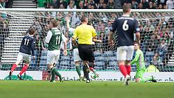 Falkirk's Blair Alson scoring their third goal..Half time : Hibernian 0 v 3 Falkirk, William Hill Scottish Cup Semi Final, Hampden Park..©Michael Schofield..