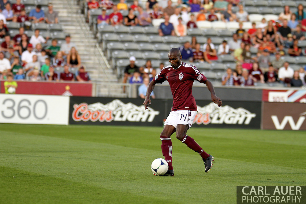 August 18th, 2012: Colorado Rapids forward Omar Cummings (14) sets up for a shot in the first half at Dick's Sporting Goods Park