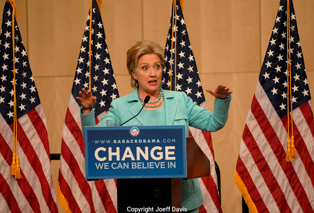 DENVER,CO - August 27, 2008: Hillary Clinton releases her delegates at the Denver Convention Center in downtown Denver during the 2008 Democratic National Convention. Clinton encouraged her delegates to vote for whomever they wanted but said she had cast her vote for Barack Obama.