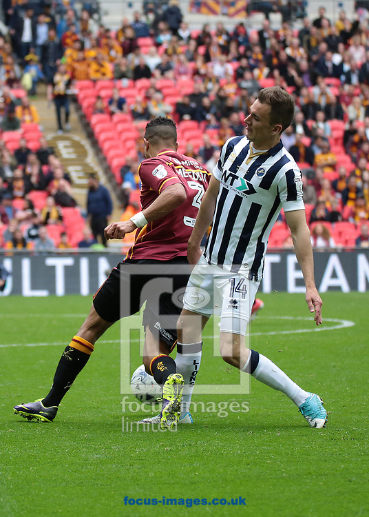 Bradford City James Meredith battles with Millwall midfielder Jed Wallace  during the Sky Bet League 1 play-off final at Wembley Stadium, London<br /> Picture by Glenn Sparkes/Focus Images Ltd 07939664067<br /> 20/05/2017
