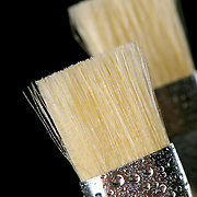Closeup of an artists paint brush