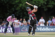 Jim Allenby hits a flat six during the NatWest T20 Blast South Group match between Middlesex County Cricket Club and Somerset County Cricket Club at Uxbridge Cricket Ground, Uxbridge, United Kingdom on 26 June 2015. Photo by David Vokes.