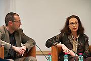 """Vienna, Hauptbuecherei. Presentation of the book """"Aufmarsch: Die rechte Gefahr aus Osteuropa"""" by  Gregor Mayer and Bernhard Odehnal (l.). Discussion leader Elisa Vass (r)."""