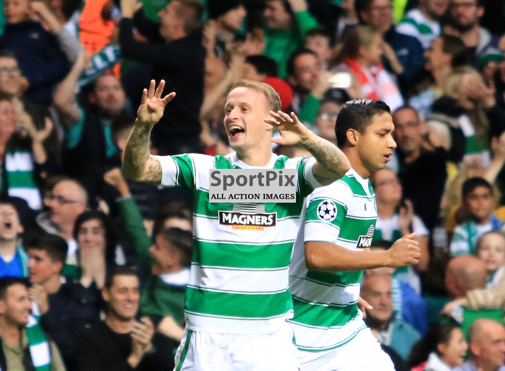 Celtic's Leigh Griffiths  celebrates after opening  the scoring during the Glasgow Celtic FC v Malmö FF Champions League Play-Off  19th August 2015 ©Edward Linton | SportPix.org.uk