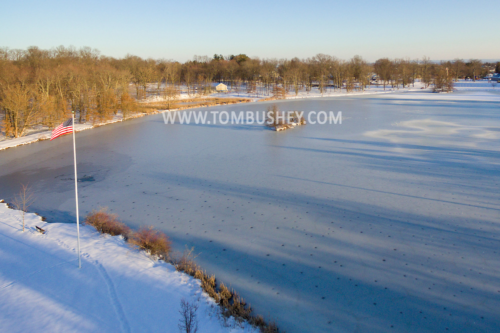 Middletown, New York - An aerial view of the frozen lake at Fancher-Davidge Park on Feb. 9, 2017.