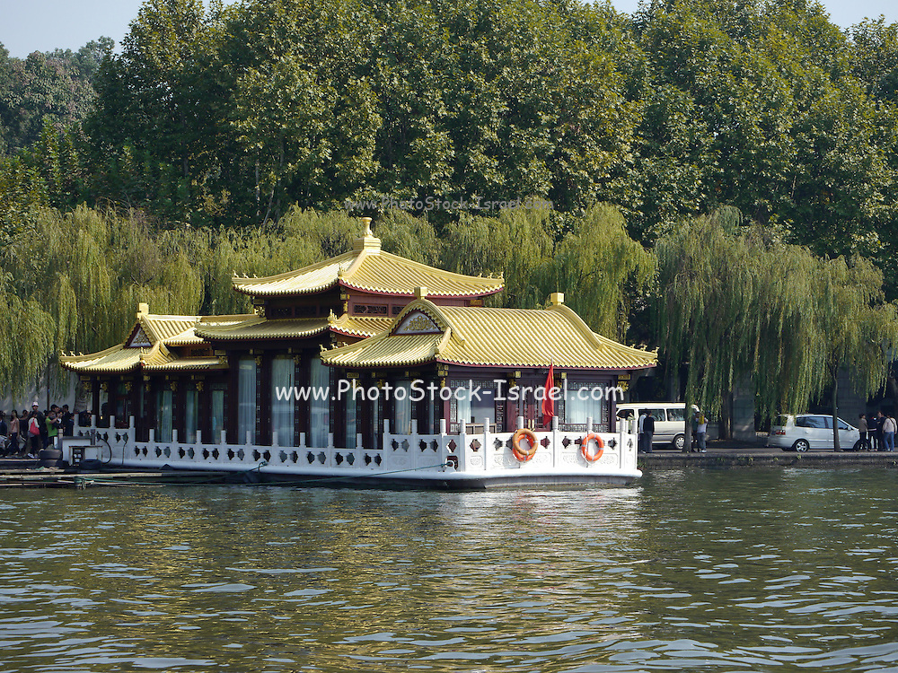 Traditional Chinese boat in Xi Hu (west lake) Hangzhou, China