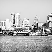 Peoria Illinois skyline black and white picture with downtown city buildings along the Illinois River.