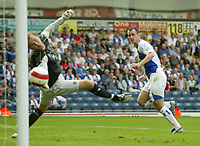 Photo: Aidan Ellis.<br /> Blackburn Rovers v Manchester City. The Barclays Premiership. 17/09/2006.<br /> City keeper and Rovers francis Jeffers watch the ball go into the net from Morten Gamst Pedersen's free kick for the second goal