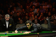 19.02.2016. Cardiff Arena, Cardiff, Wales. Bet Victor Welsh Open Snooker. Mark Selby versus Ronnie O'Sullivan. Ronnie O'Sullivan using the rest.