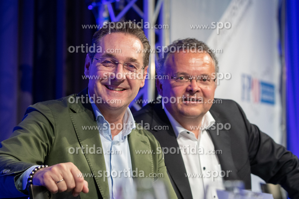 06.04.2019, Congresspark, Igls, AUT, 32. Ordentlicher Landesparteitag der FPÖ Tirol, im Bild Bundesparteiobmann VK Heinz-Christian Strache, NR Gerald Hauser // during the 32th Ordinary party convention of the FPÖ Tyrol at the Congresspark in Igls, Austria on 2019/04/06. EXPA Pictures © 2019, PhotoCredit: EXPA/ Johann Groder