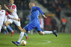 February 14, 2019 - Prague, CZECH REPUBLIC - Genk's Casper De Norre pictured in action during a soccer game between Czech club SK Slavia Praha and Belgian team KRC Genk, the first leg of the 1/16 finals (round of 32) in the Europa League competition, Thursday 14 February 2019 in Prague, Czech Republic. BELGA PHOTO YORICK JANSENS (Credit Image: © Yorick Jansens/Belga via ZUMA Press)