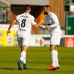 Dovers midfielder Aryan Tajbakhsh congratulates Dovers midfielder Mitch Brundle after scoring a goal during the National League match between Dover Athletic FC and Eastleigh FC at Crabble Stadium, Kent on 25 August 2018. Photo by Matt Bristow.