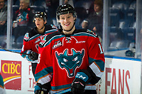KELOWNA, CANADA - NOVEMBER 21:  Michael Farren #16 of the Kelowna Rockets warms up against the Regina Pats on November 21, 2018 at Prospera Place in Kelowna, British Columbia, Canada.  (Photo by Marissa Baecker/Shoot the Breeze)