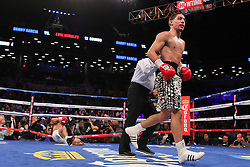 Oct 19, 2012; Brooklyn, NY, USA; WBC/WBA super lightweight champion Danny Garcia (zebra trunks) knocks down challenger Erik Morales (white trunks) in the 4th round of their 12 round bout at the Barclays Center. Garcia won via 4th round KO.
