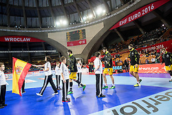 Team Spain coming to court during handball match between National teams of Slovenia and Spain on Day 4 in Preliminary Round of Men's EHF EURO 2016, on January 18, 2016 in Centennial Hall, Wroclaw, Poland. Photo by Vid Ponikvar / Sportida