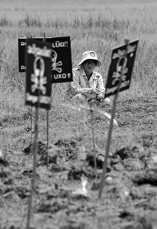 Cluster bomb clearance next to Ban Ton Tai school in Xieng Kuang province