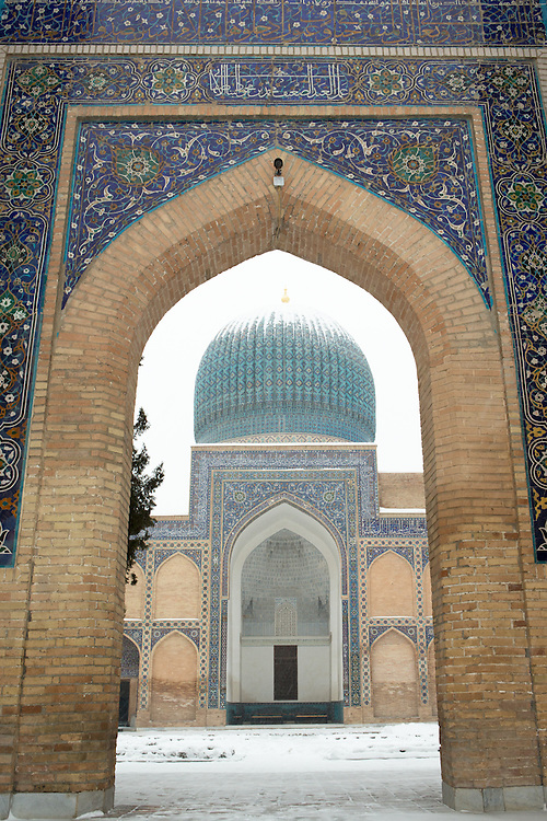 Snow on the Silk Road: through the archway at Gur-i-Amir, the tomb of Timur (Tamerlane), Samarkand. Feb 5-6, 2014 saw a rare sustained snowy period in Samarkand, Uzbekistan, breaking record lows and resulting in school closures and power outages