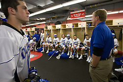 18 May 2008: Duke Blue Devils midfielder Tom Montelli (11) listens to head coach John Danowski before a 21-10 win over the Ohio State Buckeyes during the NCAA quarterfinals held at Cornell University in Ithaca, NY.