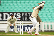 Kumar Sangakkara  of Surrey County Cricket Club has a near miss during the LV County Championship Div Two match at the Kia Oval, London<br /> Picture by Mark Chappell/Focus Images Ltd +44 77927 63340<br /> 26/04/2015