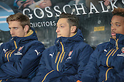 Mesut Özil (Arsenal) on the bench before the The FA Cup fifth round match between Hull City and Arsenal at the KC Stadium, Kingston upon Hull, England on 8 March 2016. Photo by Mark P Doherty.