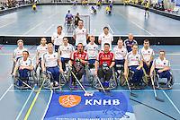 BREDA - Paragames 2011 Breda. Het Nederlands team Rolstoelhockey handvoortbewogen zaterdag voor  de interland Nederland-Duitsland  bij het 4-landentoernooi Wheelchair Floorball Hockey, het  Nederlands handvoortbewogen rolstoelhockeyteam.  ANP COPYRIGHT KOEN SUYK