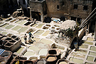 Morocco, Fez. Traditional moroccan tanneries in the medina.