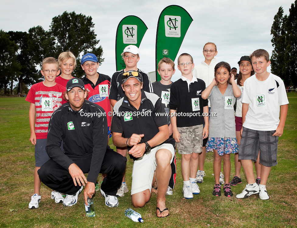 Blackcaps players Jacob Oram & Tim Southee with some of the participanting kids during the National Bank Super Camp, a National Bank initiative to connect with cricket's grass roots. Held at the East Shirley Cricket Club, Christchurch, New Zealand. Thursday, 27 January 2011. Joseph Johnson / PHOTOSPORT.