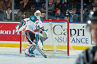 KELOWNA, CANADA - DECEMBER 27: James Porter #1 of the Kelowna Rockets scuffs the crease for overtime against the Kamloops Blazers on December 27, 2017 at Prospera Place in Kelowna, British Columbia, Canada.  (Photo by Marissa Baecker/Shoot the Breeze)  *** Local Caption ***