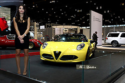 12 February 2015:  Alpha Romeo 4C Spider.<br /> <br /> First staged in 1901, the Chicago Auto Show is the largest auto show in North America and has been held more times than any other auto exposition on the continent. The 2015 show marks the 107th edition of the Chicago Auto Show. It has been  presented by the Chicago Automobile Trade Association (CATA) since 1935.  It is held at McCormick Place, Chicago Illinois