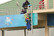 Workmen get St Georges ready for the double header on Saturday during the Bushrangers training session held at St Georges Park in Port Elizabeth on the 17 September 2010..Photo by: Shaun Roy/SPORTZPICS/CLT20