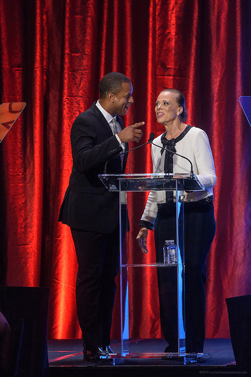 MSNBC anchor and host Craig Melvin, greets Lonnie Ali, vice chair and co-founder of the Muhammad Ali Center, at the fourth annual Muhammad Ali Humanitarian Awards Saturday, Sept. 17, 2016 at the Marriott Hotel in Louisville, Ky. (Photo by Brian Bohannon for the Muhammad Ali Center)