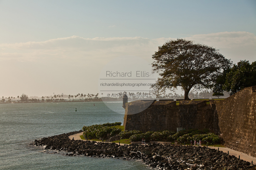 Paseo de la Princesa and view of the harbor Old San Juan, Puerto Rico.