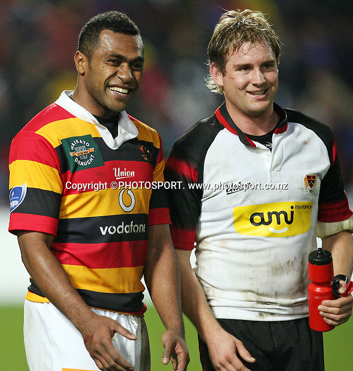 Waikato's Sitiveni Sivivatu and Andrew Ellis after the Air New Zealand Cup week 3 rugby union match between Waikato and Canterbury at Waikato Stadium in Hamilton, New Zealand on Friday 11 August 2006. Waikato won the match 36 - 22. Photo: Kevin Booth/PHOTOSPORT<br />