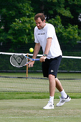 Liverpool, England - Monday, June 11, 2007: Greg Rusedski practices on one of the outside courts at Calderstones as he prepares for the start of the Liverpool International Tennis Tournament. Rusedski faces qualifier Chris Llewellyn on the opening day Tuesday June 12th. For more information go to www.liverpooltennis.co.uk. (Pic by David Rawcliffe/Propaganda)