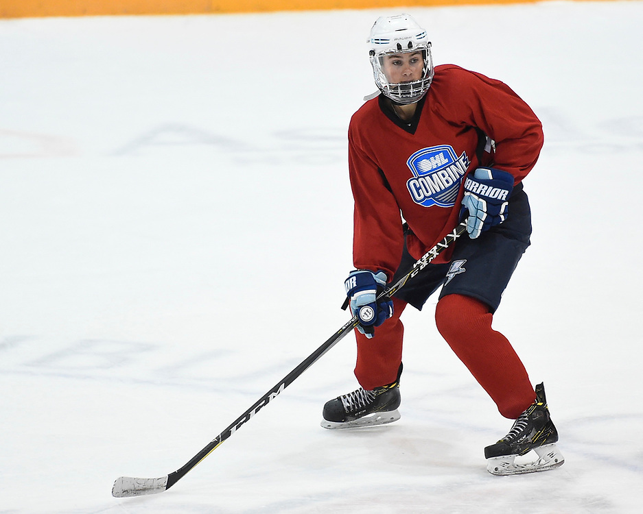 Jack Abrams of the Halton Hurricanes at the 2018 OHL Development Combine at the Tribute Communities Centre in Oshawa on Sunday March 25, 2018. Photo by Aaron Bell/OHL Images