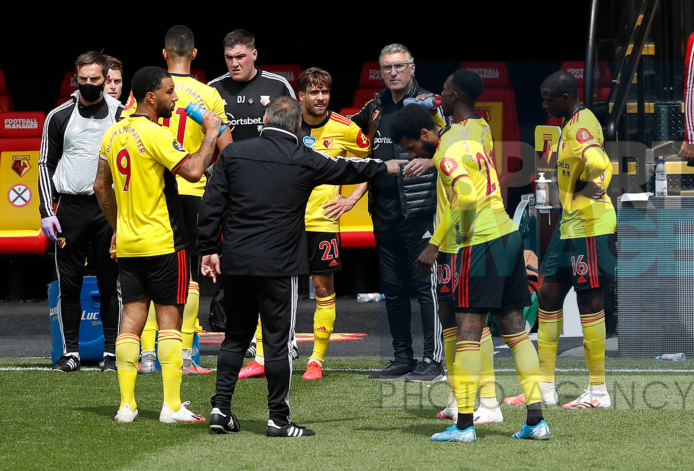 Nigel Pearson manager of Watford issues instructions during the drinks break  during the Premier League match at Vicarage Road, Watford. Picture date: 20th June 2020. Picture credit should read: Darren Staples/Sportimage