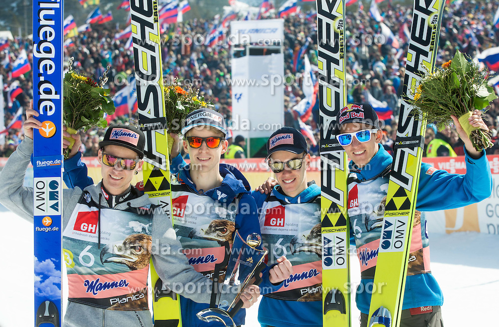 Second placed team: Manuel Fettner of Austria, Michael Hayboeck of Austria, Stefan Kraft of Austria and Gregor Schlierenzauer of Austria celebrate after the Flying Hill Team Competition at Day 3 of FIS World Cup Ski Jumping Final, on March 21, 2015 in Planica, Slovenia. Photo by Vid Ponikvar / Sportida