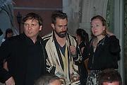 Marcos Lutyens; RAIMUNDA MALASAUSKAS; SOFIA HERNANDEZ CHONG CUY, Absolut Art Bureau cocktails and dinner to celebrate the announcement of the 2013 Absolut Art Award shortlist. Bauer Hotel, San Marco. Venice. Venice Bienalle. 28 May 2013