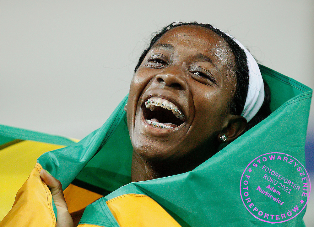 BERLIN 17/08/2009.12th IAAF World Championships in Athletics Berlin 2009.Shelly-Ann Fraser of Jamaica celebrates after winning the women's 100 metres final during the world athletics championships at the Olympic stadium.Phot: Piotr Hawalej / WROFOTO