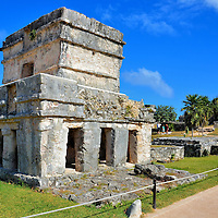 Temple of the Frescos Carvings at Mayan Ruins in Tulum, Mexico<br />