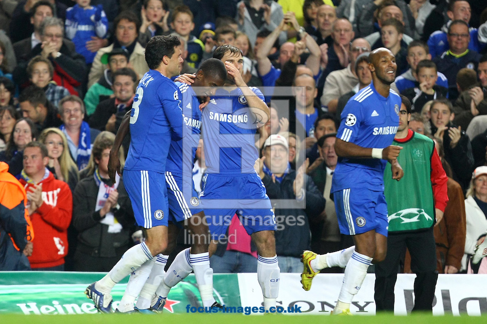London - Wednesday, October 21st, 2009: The Chelsea players congratulate Salomon Kalou on his second goal of the night during the Champions League match at Stamford Bridge, London. (Pic by Paul Chesterton/Focus Images)