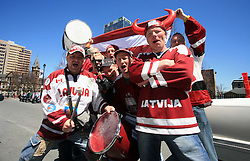 Group photo of Latvian fans at ice-hockey IIHF WC 2008 in Halifax, on May 04, 2008, infront of Metro Center, Halifax, Nova Scotia, Canada. (Photo by Vid Ponikvar / Sportal Images)